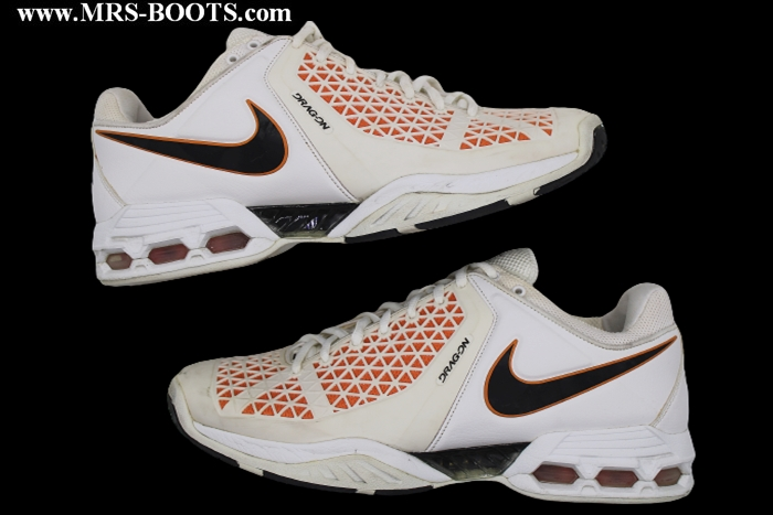 new style d2153 7e6bf ... get rafael nadals nike air max breathe cage ii game used us open 2008  shoes.